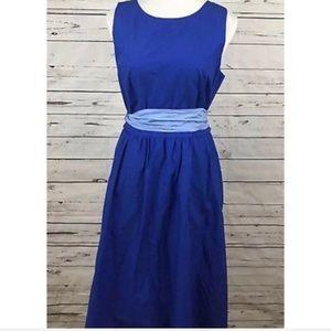 J. Crew Cobalt Blue Cotton Belted A Line Tie Dress